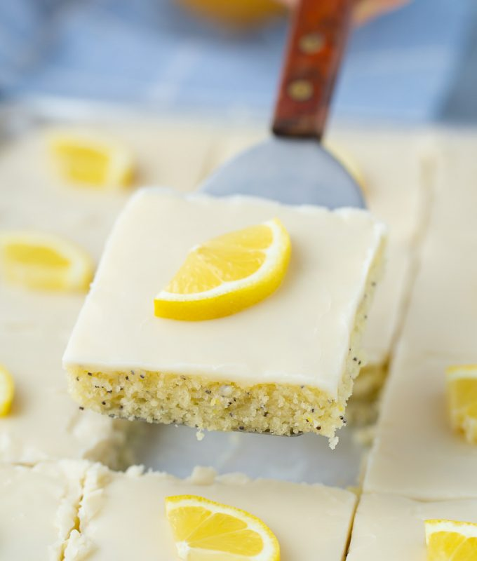 The BEST Potluck dessert recipe, Lemon Poppy Seed Sheet Cake