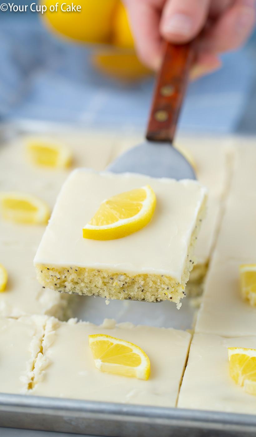 The BEST Potluck dessert recipe, Lemon Poppy Seed Sheet Cake