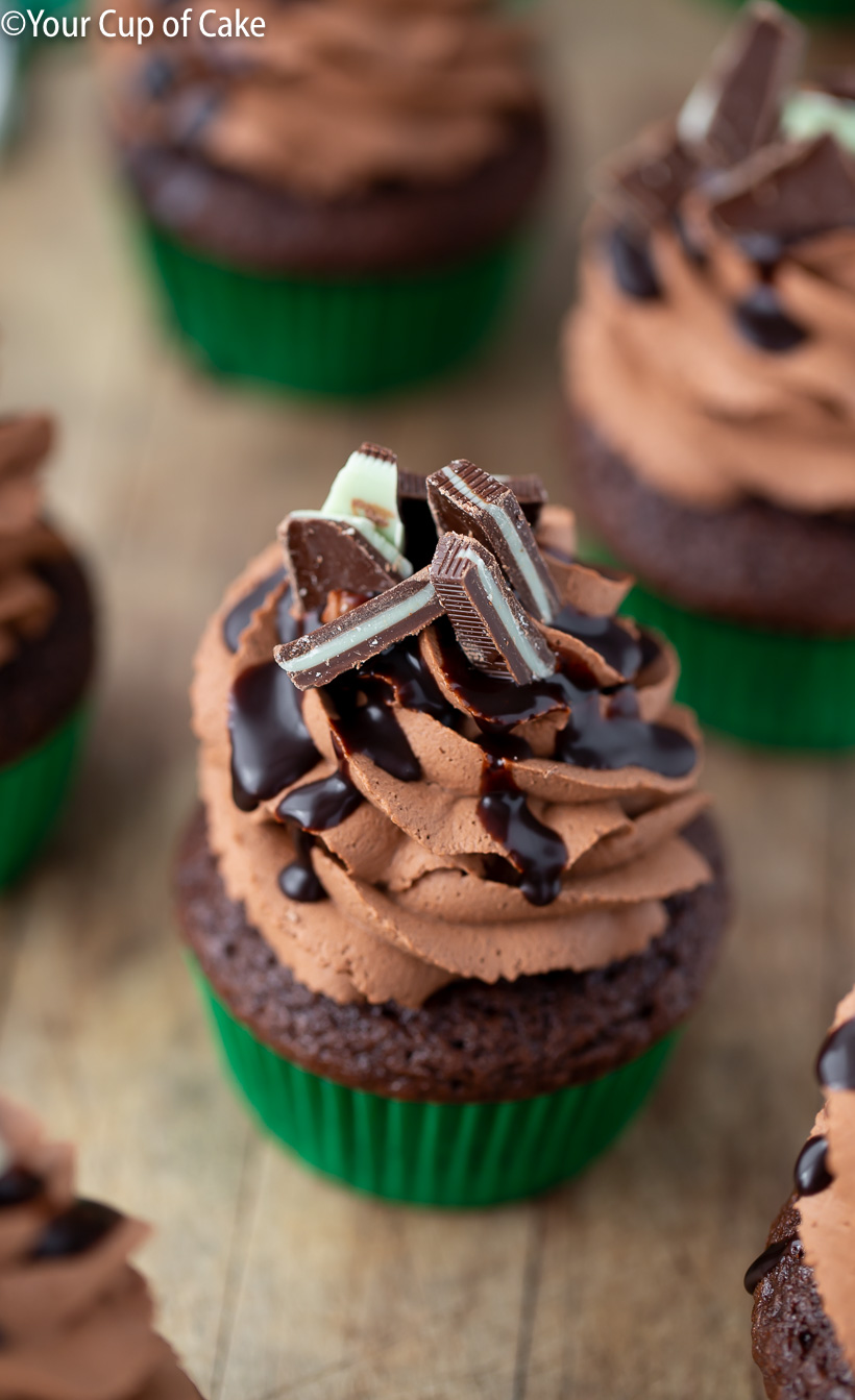 YUM! 3 Ingredient Chocolate Mousse Frosting on these Mint Chocolate Mousse Cupcakes
