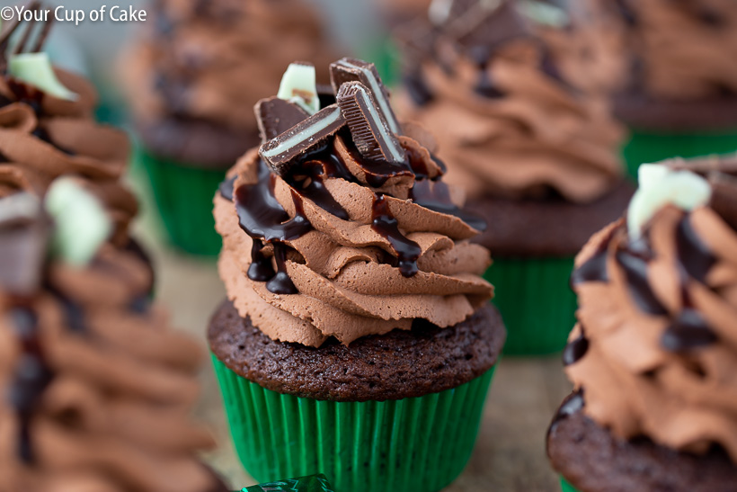 Mint Chocolate Mousse Cupcakes with Andes Mints, super easy frosting recipe!