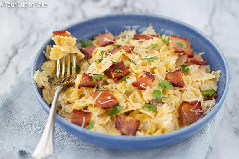 Family favorite recipe: Easy One Pot Bacon Alfredo Pasta