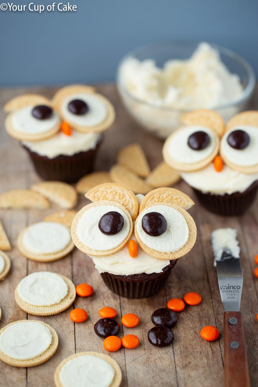 Easy Cupcake Decorating Idea, Easy Oreo Owl Cupcakes