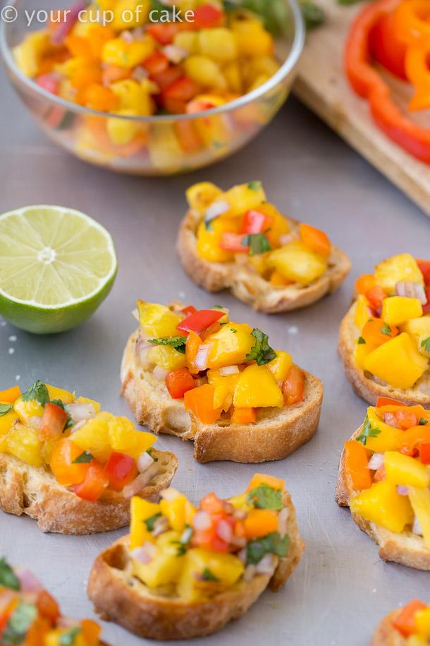This will BLOW your mind! Pineapple Mango Bruschetta
