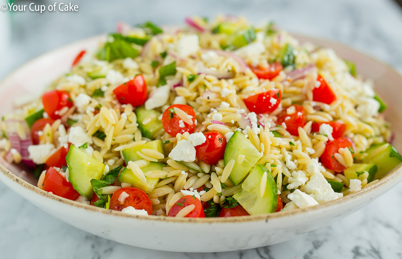 The Best Orzo Pasta Salad with a greek twist