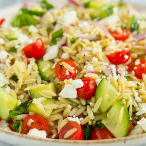 My FAVORITE pasta salad! The Best Orzo Pasta Salad