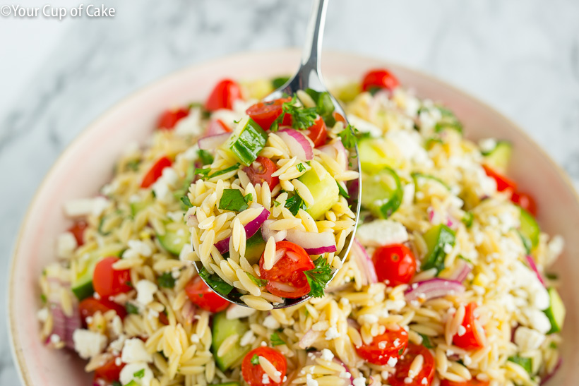The BEST Orzo Pasta Salad