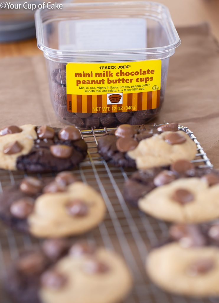 Ultimate Chocolate Peanut Butter Cookies with peanut butter cups