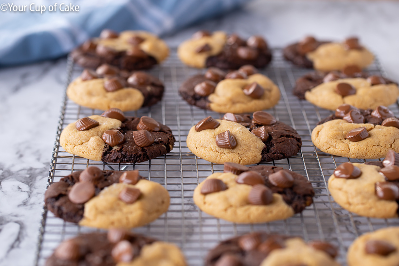 Ultimate Chocolate Peanut Butter Cookies with Reeses Peanut Butter Cups