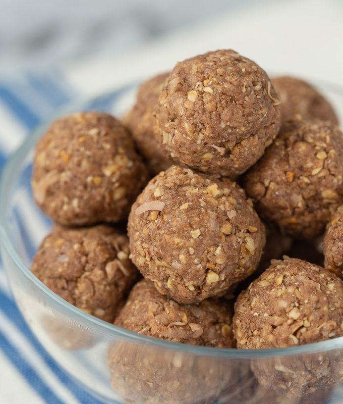 I'm OBSESSED with these no-bake protein bites! Almond Joy Protein Bites