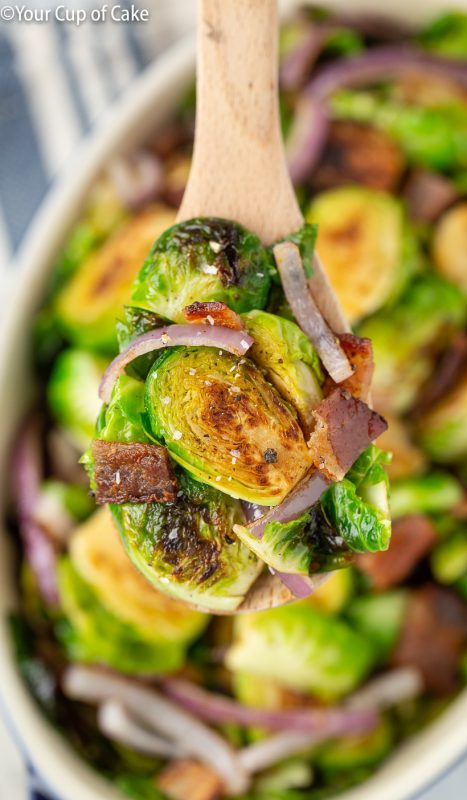 Easy recipe for Bacon Garlic Brussels Sprouts
