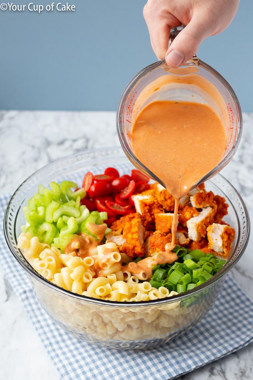 The best pasta salad recipe, Easy Buffalo Chicken Pasta Salad