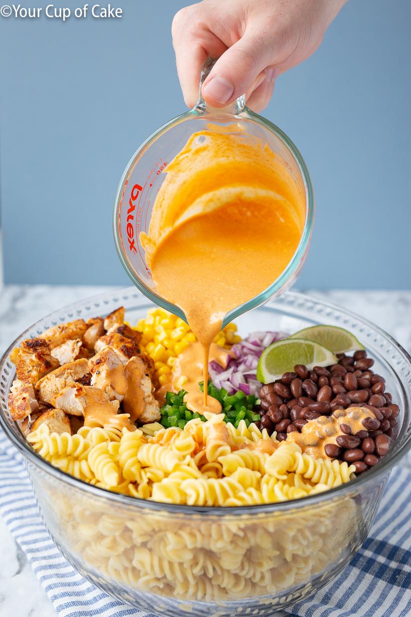 Easy dinner recipe for Chicken Enchilada Pasta Salad