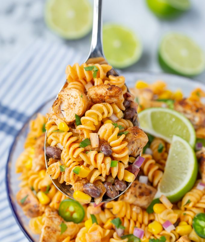 SO good and so EASY to make! Chicken Enchilada Pasta Salad