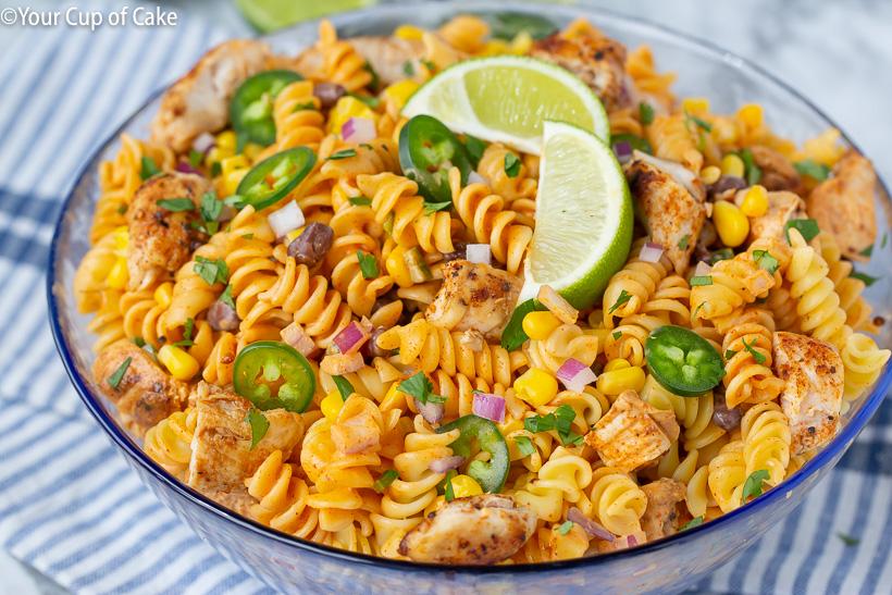 Delicious Chicken Enchilada Pasta Salad that's easy to make