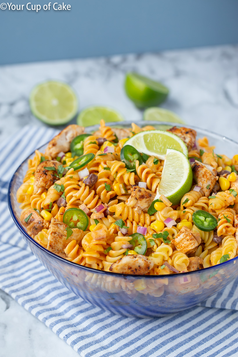 OBSESSED with this super easy recipe! Chicken Enchilada Pasta Salad