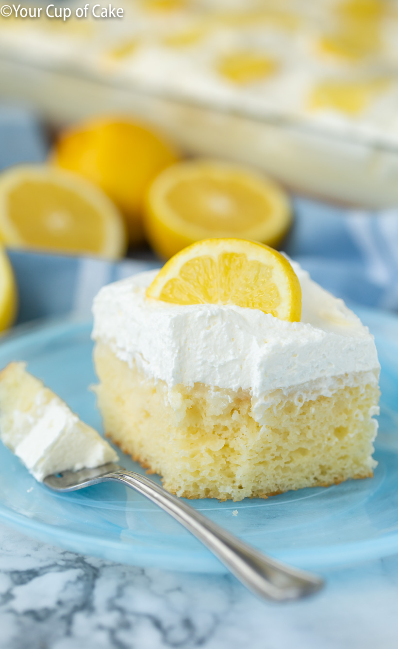 The most AMAZING Easy Lemon Cream Poke Cake ever, I'm obsessed with this recipe