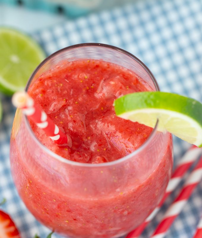 LOVE this sugar free summer treat recipe! Healthy Strawberry Lime Slushie