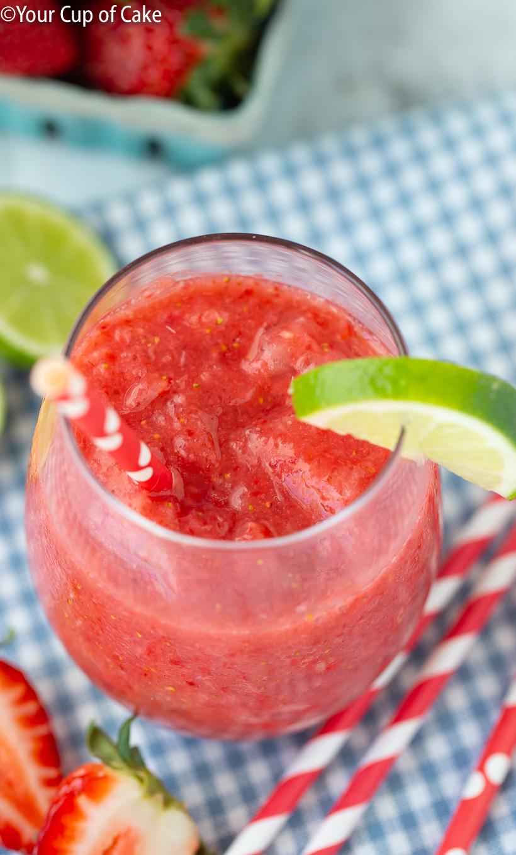 LOVE this sugar free summer treat recipe! Healthy Strawberry Lime Slushie