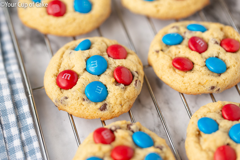 Banana 4th of July Cookies for a red white and blue dessert