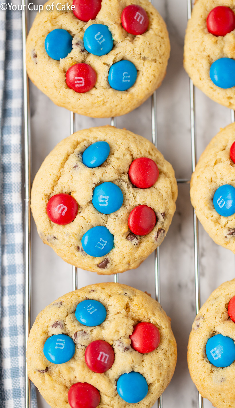 AMAZING Banana 4th of July Cookies made with M&M's!
