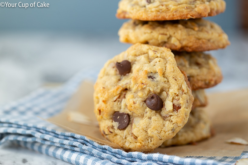 Almond Joy Cookies with coconut, chocolate chips and almond slices