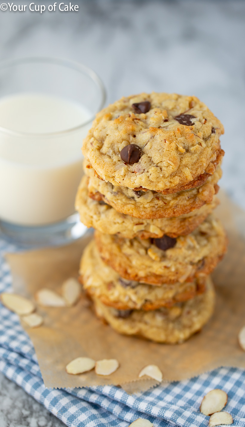 Almond Joy Cookies with chocolate chips and coconut, yum!