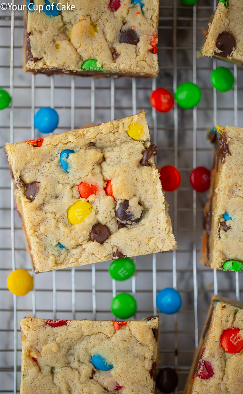Yum! These are awesome! Chocolate Chip M&M Cookie Bars