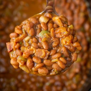 THE BEST Slow Cooker BBQ Baked Beans