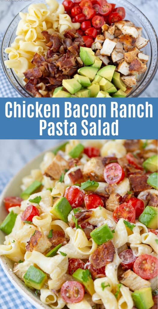My family LOVES this Chicken Bacon Ranch Pasta Salad with Avocados
