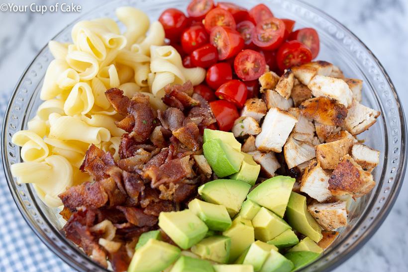 How to make a bacon avocado pasta salad
