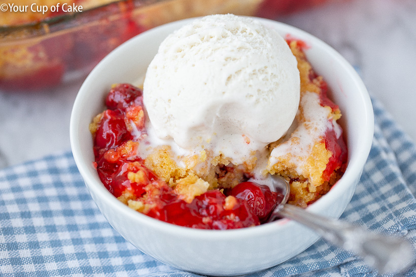 My family loves this Easy Cherry Dump Cake that only needs 4 ingredients