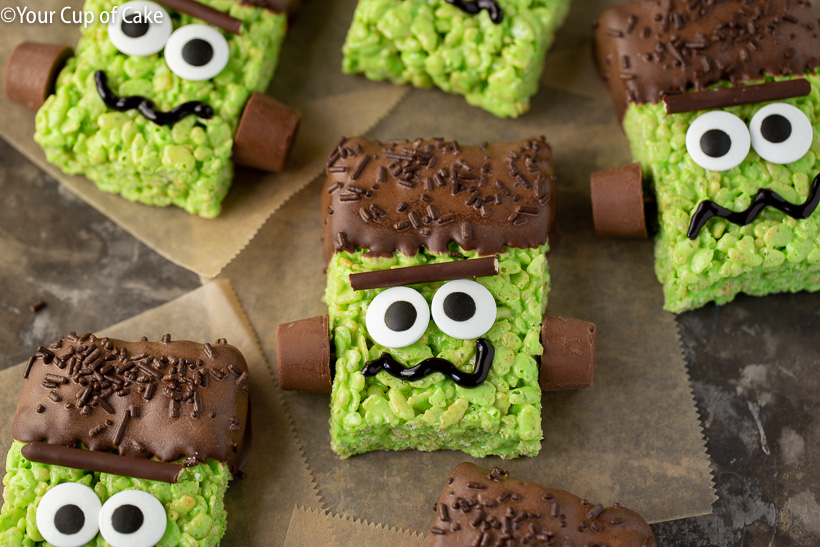 Spooky and cute Frankenstein Rice Krispie Treats for Halloween