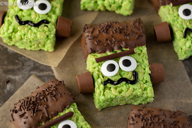 Simple Halloween Dessert Idea for Kids! Frankenstein Rice Krispies