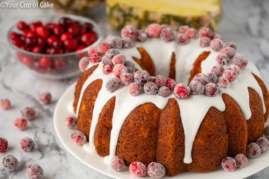 Easy to make Pineapple Cranberry Cake for Christmas