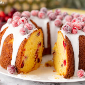 Pineapple Cranberry Bundt Cake for Christmas