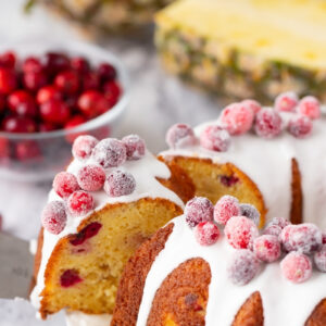 LOVE this recipe for Pineapple Cranberry Bundt Cake! My family begs for it every Christmas time